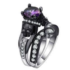 2 PCS Skull Ring Punk Style Fashion Jewelry, Ring Size:6(Purple)
