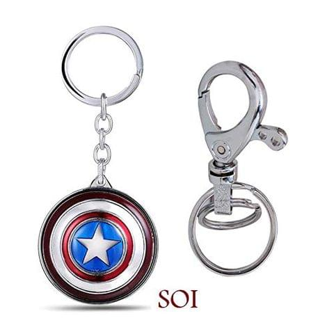 SOI Marvel Avengers Captain America Revolving and Hook Metal Keychain & Keyring (Pack of 2)