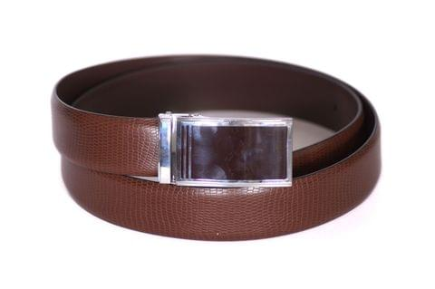 Designer Select Genuine Formal Brown Leather Belt with Black Plate Buckle - Croc