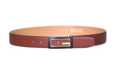 Designer Select Genuine Formal Tan Leather Belt with Imported Buckle - Lizard
