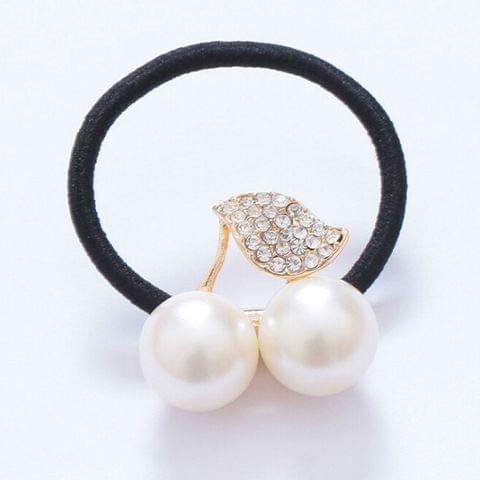 Fashion Cute Girls Hair Accessories Pearl Crystal Cherry Leaves Elastic Hair Rope(White)