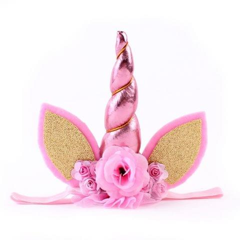 Children Fashion Lovely Unicorn Flower Shape Party Decorative Hair Hoop (Pink)