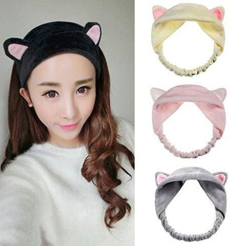 3 PCS Cat Ears Headband Makeup Hair Accessories Cute Bathing Face Masking Hair Band(Pink)