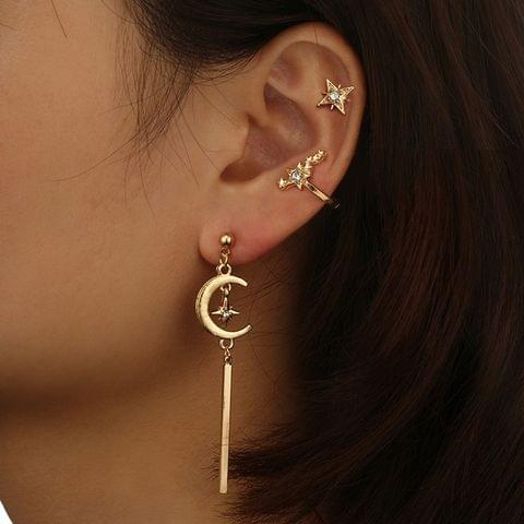 3 PCS Vintage Moon Star Long Stud Earring with Diamond For Women