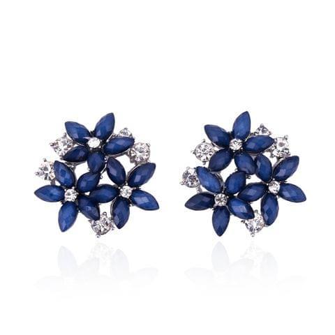 Fashion Zircon Rhinestone 3 Flower Stud Earrings for Women Jewelry, Metal Color:red
