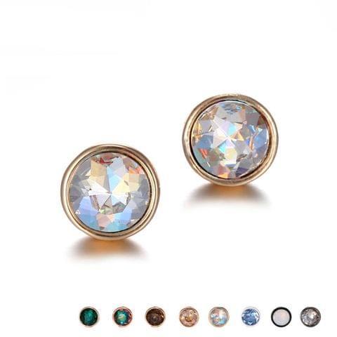 3 PCS Rhinestones Geometric Stud Earrings Gifts for Women, Metal Color:Light blue