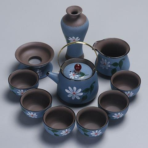 Redware Hand-painted Portable Travel Kung Fu Teaware Tea Cup Set (Blue)\t    \t\t        \t