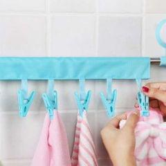 2 PCS Portable Foldable Indoor Travel Clothes Hangers with  6 Clips(Blue)