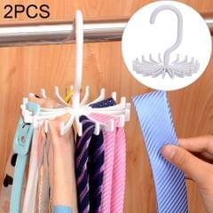 2 PCS 20 Claws 360 Degree Rotatable Tie Rack Belt Scarf Hanger Holder, Size: S(White)