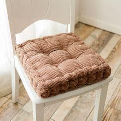 Thickened Square Computer Chair Cushion Floor Mat for Office Classroom Home, Size:48x48cm (Coffee)