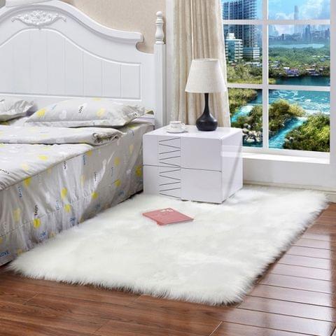 Luxury Rectangle Square Soft Artificial Wool Sheepskin Fluffy Rug Fur Carpet, Size:60x120cm(White)