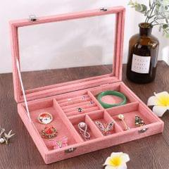 6 In 1 Multi-function Ear Stud Earrings Bracelet Pendant Necklace Ring Jewelry Protective Display Storage Box (Pink)