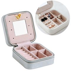Macaron Small Jewelry Box Rings and Earrings Mirrored Travel Storage Case(Grey)
