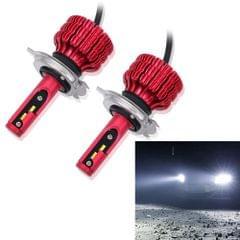 2 PCS X9 H4 36W 3600LM 6000K White Light 12 JES2016 LED Car Headlight Lamps, Red Shell, DC 10-30V