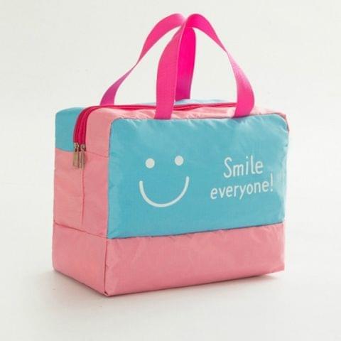 Fashion Men And Women Travel Waterproof Storage Bag Oxford Cloth Travel Bag Swimming Bag Beach Bag(Blue Smiley Face)