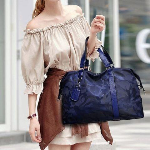 Oxford Cloth Shoulder Travel Bag Leisure Sport Handbag (Blue)