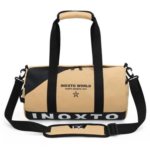 IX LK8074 Alphabet Printing Cylinder Shape Bottom Waterproof One-shoulder Portable Yoga Travel Bag for Men / Women, Size: 40 x 24 x 24cm(Khaki)