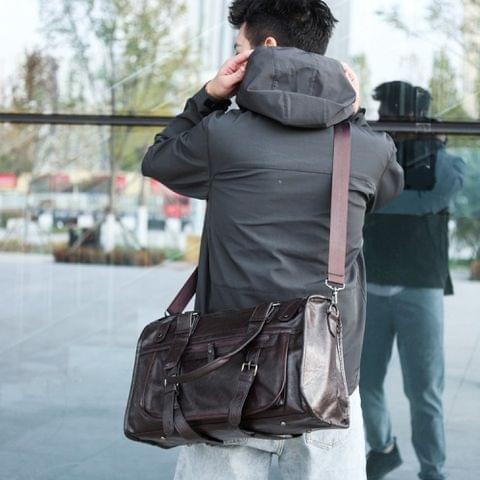 PU Leather Shoulder Travel Bag Leisure Men Handbag (Brown)