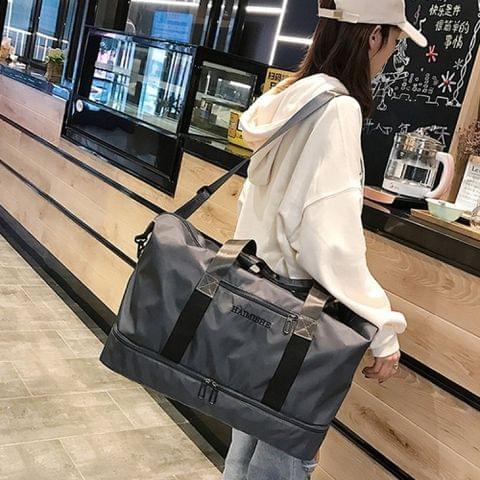 Dry and Wet Separating Shoulder Travel Bag Leisure Sport Handbag with Shoes Socket (Grey)