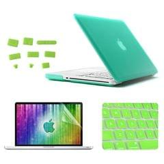 ENKAY for MacBook Pro 13.3 inch (US Version) / A1278 4 in 1 Frosted Hard Shell Plastic Protective Case with Screen Protector & Keyboard Guard & Anti-dust Plugs(Green)
