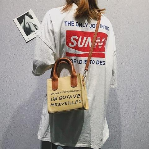 Small Square Bag Canvas Single Shoulder Crossbody Bag Ladies Handbag (Khaki)