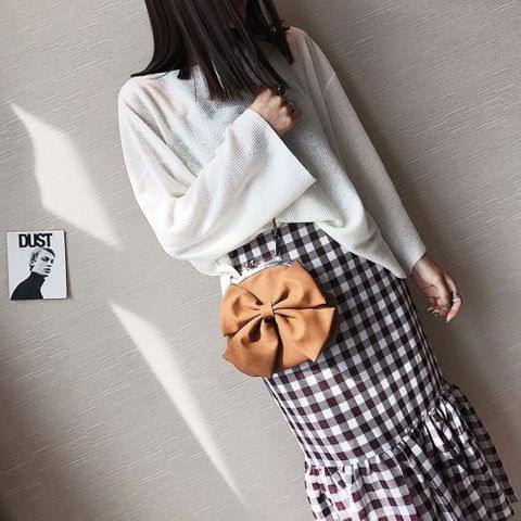 Bow PU Leather Chain-strap Single Shoulder Bag Ladies Handbag Messenger Bag (Coffee)