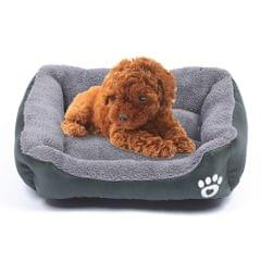 Candy Color Four Seasons Genuine Warm Pet Dog Kennel Mat Teddy Dog Mat, Size: S, 43×32×10cm (Dark Green)