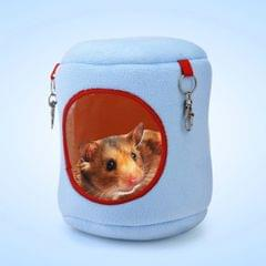Flannel Cylinder Pet House Warm Hamster Hammock Hanging Bed Small Pets Nest, XL, Size:21*21*21cm(Blue)