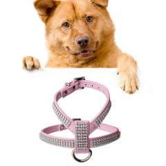 Rhinestone PU Soft Breathable Dog Harness Pet Vest Dog Chest Strap Leash Dog Collar, Size: XS(Pink)                                               ()