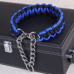 Large Dog German Shepherd Walk the Dog P Chain Necklet Collar for Medium and Large Dogs, Color:Blue Black(M)