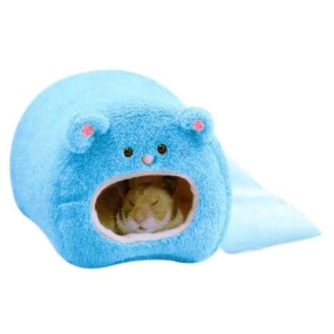 Cute Small Animal Cages Pet Rabbit Hamster House Bed Rat Qquirrel Guinea Winter Warm Hanging Cage Hamster Nest(Blue)