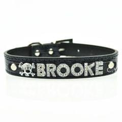 5 PCS 10MM Bling Personalized Dog Collar With Rhinestone Buckle DIY Name Pet Puppy Cat Collars, Color:Black(L)