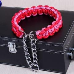 Large Dog German Shepherd Walk the Dog P Chain Necklet Collar for Medium and Large Dogs, Color:Red Pink(S)
