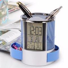Desk Mesh Pen Pencil Holder Perpetual Calendar Office Supplies Multifunctional Digital LED Pens Storage Box(Blue)