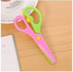 2 PCS 137mm Mini Safety Round Head Plastic Scissors Student Kids Paper Cutting Minions Kindergarten School Supplies(Green Pink)