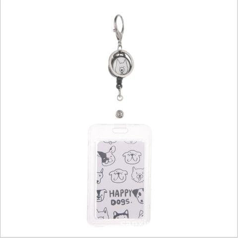 5 PCS Transparent ID Badge Case Card Holder(Many Dogs)
