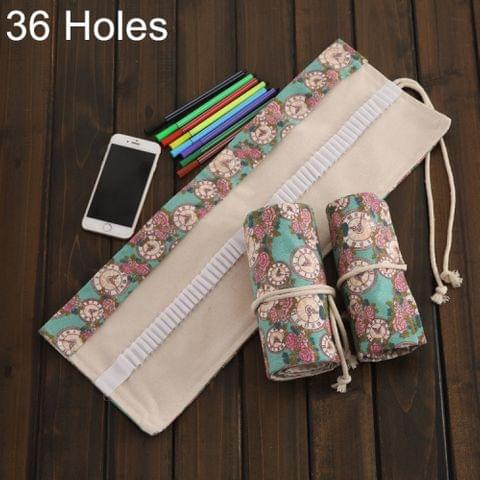36 Slots Rose Clock Print Pen Bag Canvas Pencil Wrap Curtain Roll Up Pencil Case Stationery Pouch