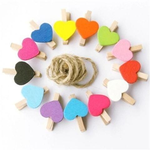 Mini Wooden Love Shape Craft Pegs Paper Photo Hanging Spring Clips(3.5cm color mixing 50 pieces / bag)