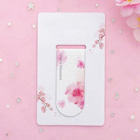 4 PCS Romantic Creative Cherry Magnetic Bookmark Student Stationery Gift School Office Supplies(Cherry Blossom Bloom)