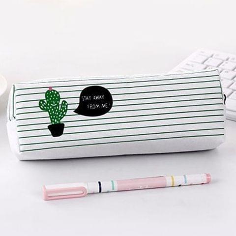 Print Cactus Octagonal Version Small Fresh Canvas Cosmetic Storage Bag Pencil Case(1 Cactus)