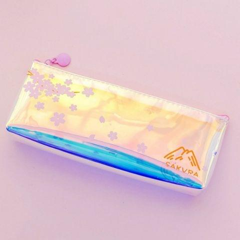 Cute Cherry Blossoms Pencil Case Kawaii Pencil Pouch Creative Laser Pen Case For Girls Gifts School Office Supplies Stationery(Pink flowers)