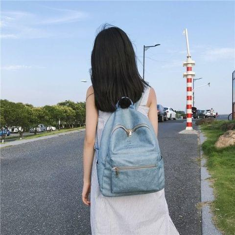 PU Leather Double Shoulders School Bag Travel Backpack Bag