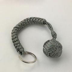 Outdoor Security Protection Black Monkey Fist Steel Ball Bearing Self Defense Lanyard Survival Key Chain(ACU camouflage)