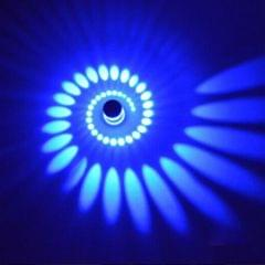 3W Modern Interior Creative Spiral Round Wall Lamp for Club, KTV, Corridor, Aisle, Background Wall Decoration Lamp Recessed In(Blue Light)