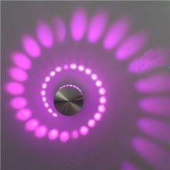 3W Modern Interior Creative Spiral Round Wall Lamp for Club, KTV, Corridor, Aisle, Background Wall Decoration Lamp Wall Mounted(Purple Light)