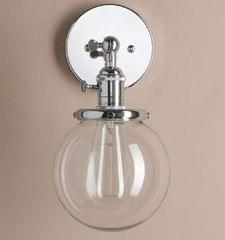 Modern Minimalist Creative Bedside Lamp Study Personality Glass Cover Small Wall Lamp without Bulbs(Chrome)