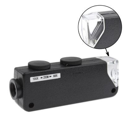 60X-100X Zoom & Focus LED Illuminated Microscope Pocket Magnifier Jewelry Loupe