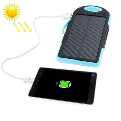 5000mAh Waterproof / Shockproof / Dropproof Emergency Power Solar Charger for iPhone / Galaxy / Sony / HTC / LG(Blue)
