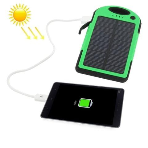 5000mAh Waterproof / Shockproof / Dropproof Emergency Power Solar Charger for iPhone / Galaxy / Sony / HTC / LG(Green)