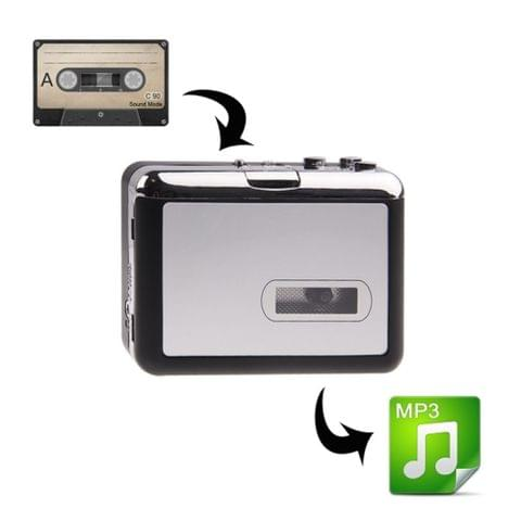 Plug and Play TF Card/Micro SD Cassette Tape to MP3 Converter (Black + Silver)